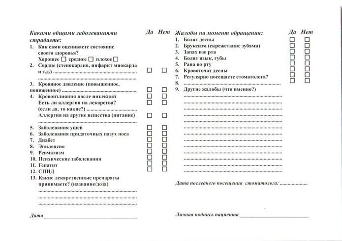 анкета пациента образец в стоматологии